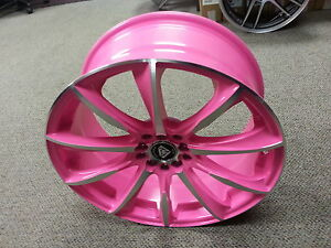 17 Inch 1026 White Diamond Edition Wheel Rims Tires Pink Polish 5 X 100