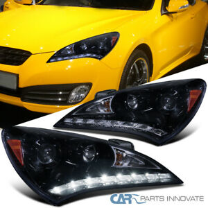 Glossy Black Fit 10 12 Hyundai Genesis Coupe Tinted Smd Led Projector Headlights