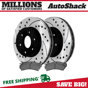 Front Pair Of 2 Drilled Slotted Brake Rotors And 4 Semi Metallic Pads Set