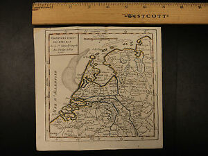1784 Color Map Of Netherlands Pays Bas Dutch Amsterdam Low Country Vaugondy