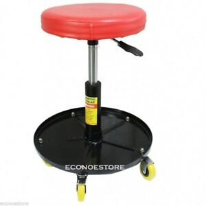 Adjustable Automotive Casters Mechanic Roller Seat Stool W Tool Storage Tray