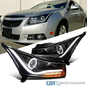 For 11 14 Chevy Cruze Black Led Halo Projector Headlights Amber Led Signal Pair
