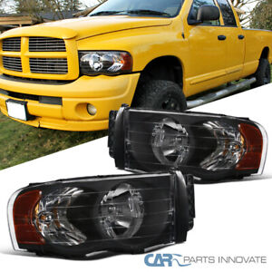 For Dodge 02 05 Ram 1500 2500 3500 Pickup Black Headlights Head Lamps Left right