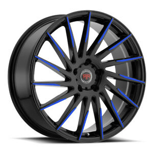 18 Inch Revolution Racing R15 Black And Blue Wheels Tires Fit 5 X 114 3