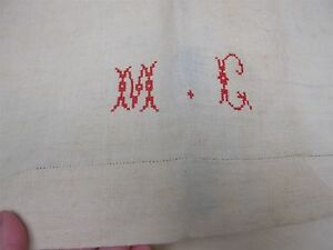 2 Antique Home Spun Pure Linen Bed Sheets With Embroidered Monogram Mg 88x110