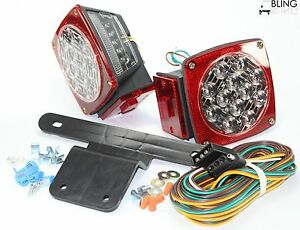 Submersible Red Stop Tail Trailer Boat Led Light W Kit Illuminator Stud Mount