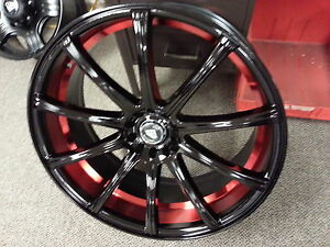 22 Inch Diamond 3195 Black Red Wheels Tires Fit Maxima Venza Impala Mustang