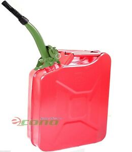 5 Gallon Jerry Can Gas Fuel Steel Tank Red Military Style 20l Can W Green Spout