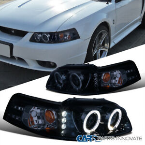 Glossy Black Ford 99 04 Mustang Replacement Tinted Led Projector Headlights Pair