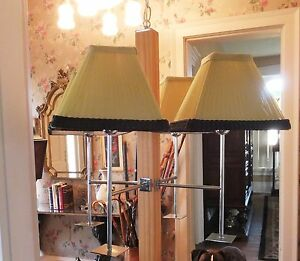 Mid Century Hanging Chandelier Thomas Ind 4 Lights W Shades Wood