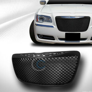 Fit 11 14 Chrysler 300 300c Glossy Blk Mesh Front Hood Bumper Grill Grille Guard