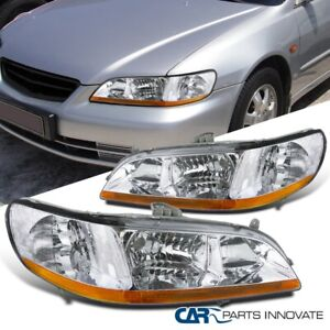 Fit 98 02 Honda Accord 2 4 Dr Clear Lens Headlights Head Lights Lamps Left Right