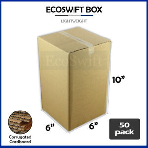 50 6x6x10 Cardboard Packing Mailing Moving Shipping Boxes Corrugated Box Cartons