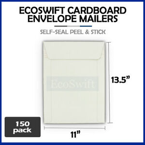 150 11 X 13 5 Self Seal White Photo Ship Flats Cardboard Envelope Mailers