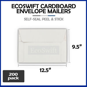 200 12 5 X 9 5 Self Seal White Photo Ship Flats Cardboard Envelope Mailers