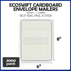 3000 6 X 8 White Cd dvd Photo Shipping Flats Cardboard Envelope Mailers 6x8