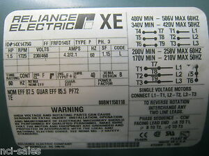 Reliance Electric 613308 78 mg 1 5hp Motor 1725rpm 230 460v