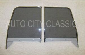 1955 1959 Chev Gmc Pickup Door Glasses Assembled Chrome Frames Left Right Grey