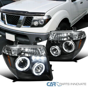 For 05 08 Nissan Frontier 05 07 Pathfinder Black Led Halo Projector Headlights