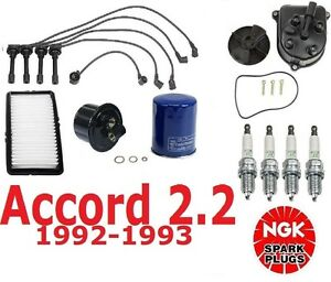 Tune Up Kit For Accord 2 2 Liter Filters Cap Rotors Wires Plugs 1992 93 New