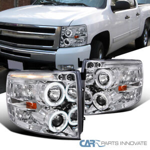 For Chevy 07 14 Silverado Led Halo Clear Projector Headlights Head Lamps Pair