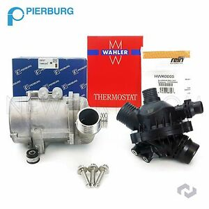 Pierburg Brand Electric Engine Water Pump Thermostat W 3 bolt Kit For Bmw