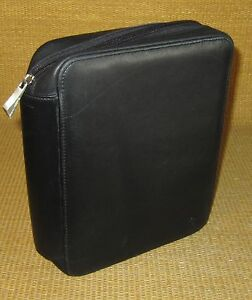 Classic 1 Rings Black Leather Franklin Covey Zip Planner binder W Storage