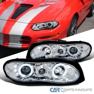 For Chevy 98 02 Camaro Led Halo Clear Projector Headlights Head Lights Lamps 2pc