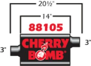 New Cherry Bomb 88105cb Vortex Muffler 4 1 4 X 10 Inch Oval Center Offset