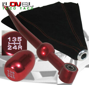 96 00 Honda Civic Jdm Red Short Shifter 5 Speed Mt Gear Shift Knob Suede Boot