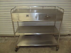 Stainless Steel Table Two Drawer Three Shelf Surgical Surgery Or Supply Cabinet