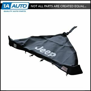 Oem Hood Protector Bra Cover V Style With Logo Black For 97 06 Jeep Wrangler New