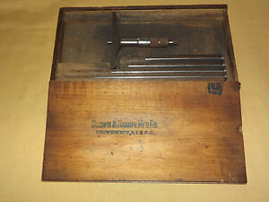 Vintage Antique Tool Brown Sharpe Mfg Micrometer Depth Gage 0 6 In Wood Box