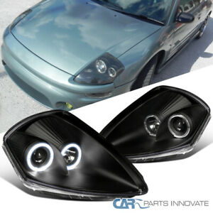 Black For 00 05 Mitsubishi Eclipse Halo Projector Headlights Head Lights Lamps