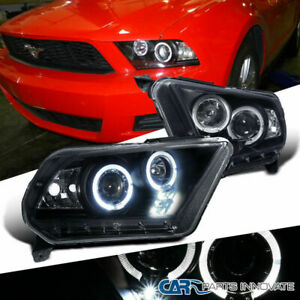 Ford 10 14 Mustang Led Halo Projector Headlights Lamp Black