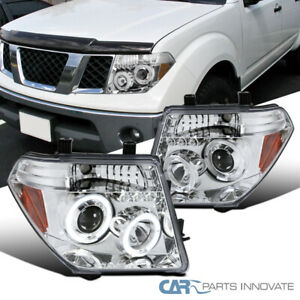 For 05 08 Nissan Frontier 05 07 Pathfinder Clear Led Halo Projector Headlights