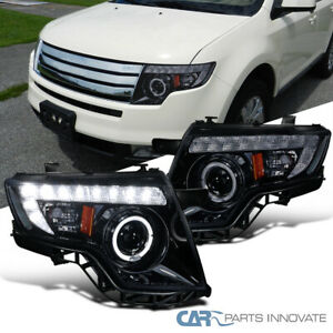 For Ford 07 10 Glossy Black Edge Tinted Halo Led Projector Headlights Lamps Pair