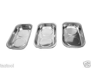 3 Pcs 9 1 2 X 5 1 2 Stainless Steel Magnetic Tray Chrome Finish Parts Tools