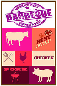 Bbq Barbeque 12 x18 Store Retail Food Counter Sign