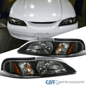 Fit Ford 94 98 Mustang One Piece 2in1 Black Clear Headlights Signal Corner Lamps