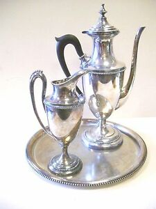 Antique James W Tufts Silver Plated Sp Gold Lined Coffee Set Ebony Handle 1899