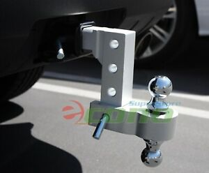Aluminum 6 Drop Adjustable Tow W dual Hitch Ball 2 2 5 16 Fittrailer Receiver