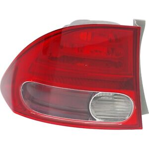 Tail Light For 2006 2008 Honda Civic Driver Side Outer Sedan