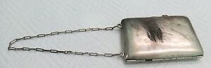 Sterling Silver Coin Purse Handbag Makeup Vintage Antique Estate Card Case Mono