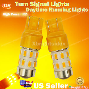 2x 7443 7440 Led Light Bulb Turn Signal Position Drl Projector Lens Amber Yellow