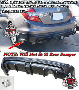 Mu gen Rr Style Rear Lip Led Brake Lights Fits 2012 Civic 4dr