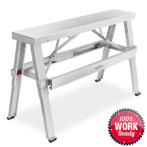 Drywall Bench Sawhorse Step Ladder Adjustable Height Workbench 18 30