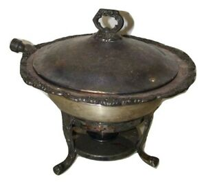 Vintage Bristol Silverplate By Poole Chafing Dish Warmer Tableside 14145