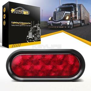 6 Oval Led Brake Light Stop Tail Turn Light For Trucks 12v Waterproof Red 10led