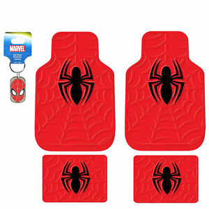 New Marvel Spiderman Red Front Rear Rubber Floor Mats Key Chain For Car Truck